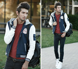Bobby Raffin - Zara New Kicks!, Varsity Jacket, Thrifted Basic Maroon Tee - College Days