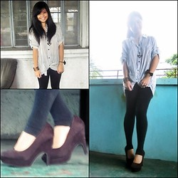 Chloe ♥ Reniva - Polo White And Gray Stripes, Forever 21 Black Pumps - Just wear that polo