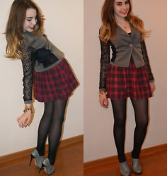 Bianca Papaleo - Lace Blazer, Plaid Skirt, High Heeled Ankle Boots - So tell me, darling, do you wish we fall in love?