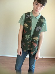 Johnathan Andru - Thrift Dinosaur Vest, American Apparel Basic Green Polo - The Land Before Time