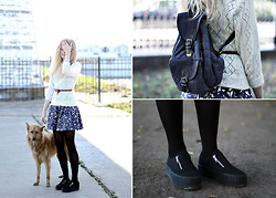 Margarita Lemeshko - Suomi Kirppis Backpack, Uff Boots, Zara Dress, Sekond Hand Sweater - Kotlin Island