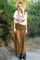 Amber Saylor - Obey Live Free Die Free Tee, Velvet Rabbit Leopard Maxi, Leopard Banded Hat, Jeffrey Campbell Tardy Platform - Live Free, Die Free.