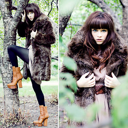 Rachel-Marie Iwanyszyn - Zara Faux Fur Coat, Dress, Black Tights, Acne Studios Pixel Boot, Http://Www.Jaglever.Com - With a perfect dream