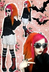 Professor Kunoichi - Handmade Studded Sunglasses, Zara Frilly Shorts, Sai Black Goth Loli Shirt, H&M Waist Coat, Marks And Spencers Stripey Socks, Demonia Tarten Platform Boots - I miss Halloween