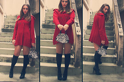 Nanah Greco - Red Coat, Black Socks, Zebra Bag - Woman