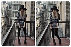 Emilia A. - H&M Floppy Hat, Forever 21 Jumper, Clockhouse Leggings, Jeffrey Campbell Litas - Wake Me Up (When September Ends)