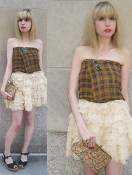 FashionSheSays XX - Vintage Scarf (Worn As Top), D&G Tutu, Yves Saint Laurent Espadrilles, Vintage Clutch, Vintage Jewelry - Plaid Ballerina