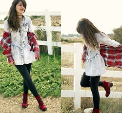 Lexi L - Buffalo Exchange Acid Wash Denim Dress, Borrowed Red Flannel, Crossroads Red Lace Up Boots - When the Sun Hits
