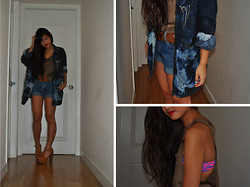 Bowie M - Victoria's Secret Bikini, Goodwill & Diy Jean Jacket, Jeffrey Campbell Foxy - Why you hiding in the dark, lovely