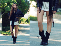 Bethany Struble - Nine West In The Dirt, Thrifted Silver Shorts, Tinley Road Leather Jacket, Handmade Fringed Scarf - Walk Around With You
