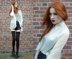 Olivia Emily - Batwing Chiffon Blouse, The Ragged Priest Leather Shorts, Cut Up Tights, Docs, Claw Earring - The claw