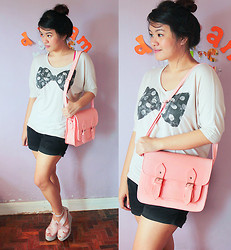 Cerisse Salvador - Bayo Oversized Top With Polka Dot Ribbon, Peach Cambridge Satchel, Peach Bandage Wedge - Peach & Polka dotted ribbon