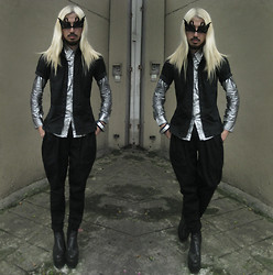 Andre Judd - Protacio Volume Trousers, Silver Button Down, Short Sleeved Button Down, Swan Mask Glasses - FINAL FANTASY