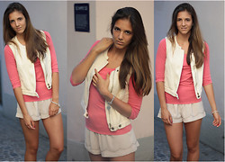Jessica Mes - Massimo Dutti Peach Shirt, Mango Vest, H&M Shorts, Tiffany & Co. Silver Jewelry - Breakfast with tiffany