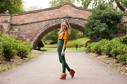 Caitlin Evans - American Apparel Riding Pants, Urban Outfitters Tan Wedges, H&M Jumper, Vintage Bow - I will try to fix you