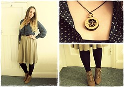 Ines J - Zara Lace Up Wedges, Portobello Road Necklace, Vintage Shirt, River Island Skirt - Hello Autumn