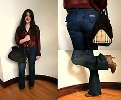 Sorelle : - American Apparel Oversized Chiffon Blouse, Burberry Bag, Hudson Jeans, Forever 21 Booties - Falling