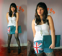 Cerisse Salvador - Diy Union Jack Shorts, Thrift Blue Envelope Bag, Accessorize Hearts Tights, Trinkets Royale Manila Purple Feather Earring - Union Jack Love