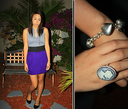 Hannah Meegan - Forever 21 Blue Gray Loose Sleeveless Shirt, Forever 21 Purple High Waisted Skirt, H&M Velvet Pointed Black Flats, Claire's Heart Charm Bracelet, Forever 21 Victorian Inspired Ring - Diamonds Aren't Forever