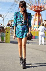 Joellen Lu - Vintage Floral Strong Shoulder Dress, Chanel Dripping Coco Necklace, Deena & Ozzy Lace Up Boots - Greek Festival