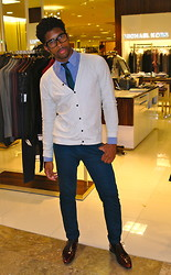 Doug Locke - Paul Smith Shoes, Club Monaco Shirt, French Connection Uk Cardigan, Club Monaco Shirt, French Connection Uk Tie, Furst Premium Jeans - Fashion's Night Out: GQ Party at Saks Fifth Avenue