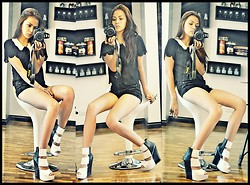 CHILL Torralba - Muffin Collared Scalloped Top, Forever 21 Ripped Shorts, Janilyn Shoes - Black and White