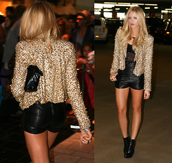 Shea Marie - Ellie Lavelle Jacket, Ellie Lavelle Leather Shorts, Alexander Wang Shoes, Yves Saint Laurent Bag - Red carpet ready.