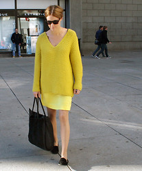 Sara Strand - Zara Loafers, Zara Bag, Laugh Cry Repeat Dress, Zara Sweater, Gucci Sunglasses - 160911
