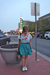 Tatum Lewis - Thrift Store Teal Skirt, Keds White - Eyes Be Closed.