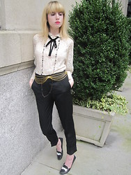 FashionSheSays XX - Vintage Rayna's Blouse, See By Chloé Pants, Tod's Loafers, Vintage Belt, Vintage Necklace, Milly Cami - Yacht Race