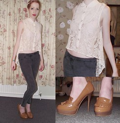 Charlotte Kinsella - Floral Laced Shirt, Brown Leather Brogue Heels, Jeggins - Stuck in the middle with you.
