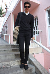 Blake Keif - Salavtion Army Stripped Button Down, H&M V Neck Sweater, Hot Topic Black Jens, Toms Shoes - Anti-Homecoming
