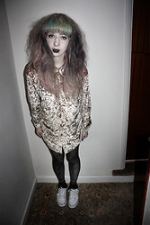 Kayla Hadlington - Charity Shop Velvet Top, Charity Shop Tights, Primark Socks, Converse - TO TIRED TODAY TO HATE