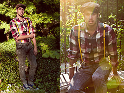 Raphael - Mossimo Shirt, Nine Days Jeans, American Apparel Suspenders, H&M Hat, Converse Navy All Star Hi Top Sneakers, H&M Necklace - I Will Be There
