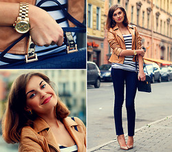 Anastasia K. - Oasis Leather Jacket, H&M Striped Top, Mango Jeans, Mango Heels, River Island Satchel, Michael Kors Watches - Dark blue and beige.
