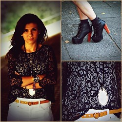 Kasia J. - Jeffrey Campbell Wedges, H&M Blouse, New Look Belt - Do you wish people listened over here with me?