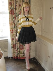 FashionSheSays XX - J.Crew 'Natalie' Sweater, Vintage Necklace, Twenty8twelve Skirt, Chanel Wedges - Puckish Punk