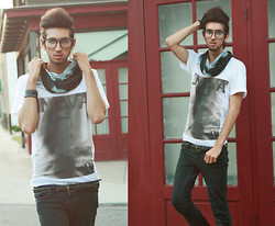 Bobby Raffin - Jnava Graphic Tee, Black Rimmed Glasses, Acid Washed Scarf, Leather Braided Belt, Black Jeans - Contact High
