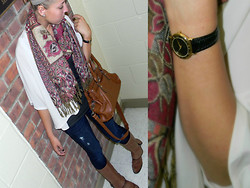 Leslie Blair Sullivan - Vintage Scarf, American Eagle Denim, Gucci Watch, Petticoat Alley Blouse, Bcbg Boots - Hold a Mirror to Show Just What You've Become