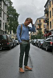 Sim L - Vintage Rl Denim Shirt, Grenson Archie V Brogues, Vintage Army Backpack, Army Green Chinos - Is it the shoes or the shirt? I like 'em both.