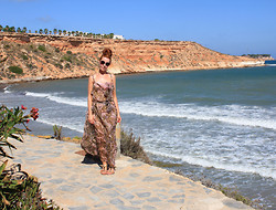 Amanda Blackwood - Large Circle Shades, Sheer Butterfly Dress, Gladiator Sandals - Spain Day 2 - Cliffside Butterflies