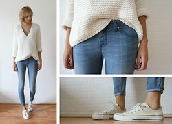 Sietske L - Zara Knitted Jumper, Kasil Workshop Jeans - Super basic.