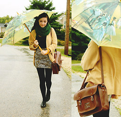 Breanne S. - Thrifted Sweater And Umbrella, Romwe Satchel, Ardene Chunky Scarf, Wet Seal Leopard Skirt - This is pouring rain.