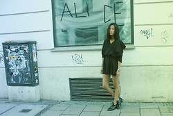 Alice M. Huynh - Complex Geometries Black Longshirt, Fashionpash Black Leather Boots - Tape my name on the walls.