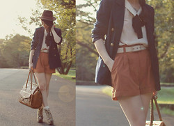 Shan Shan - Blouse, Shorts, Belt - Earth tone with navy boyfriend blazer