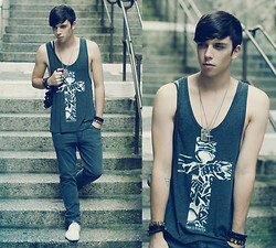 James Vyn - Once Youth Tank Top, Cheap Monday Jeans, White Leather Shoes, Vintage Goggles - I'll be high, then I'll be low.
