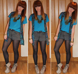 Amanda Blackwood - Vintage Fair Silky Tee, Pop Boutique, London Vintage Silk Sleeveless Shirt, Levi's® Vintage Levis Shorts, Jeffrey Campbell Python Litas, Peacock Feather Necklace - Today - My Sweet 16 (plus 10!)