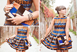 Pauline Hood - Asos Navajo Print Dress, American Retro Patchwork Leather Clutch, Charlotte Martyr Black Mamba Rings And Bands - Summer Blues