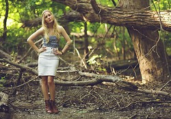 Mattie Krall - Urban Outfitters Braided Headband, Urban Outfitters Blue Strapless Top, Americal Apparel White Pencil Skirt, Urban Outfitters Brown Lace Up Booties - The Wood Between the Worlds.