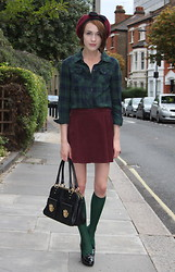 Ella Catliff - Topshop Beret, H&M Checked Shirt, American Apparel Burgundy Cord Mini, Marc By Jacobs Black Bag, Cos Green Knee High Socks, Tods Patent Heeled Loafers - London Fashion Week: Day 2